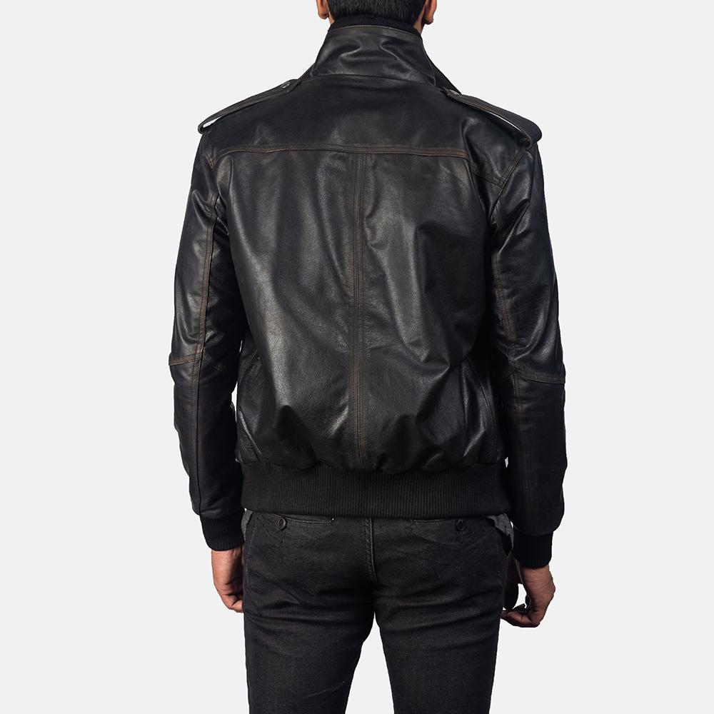 Mens Glen Street Black Leather Bomber Jacket 4