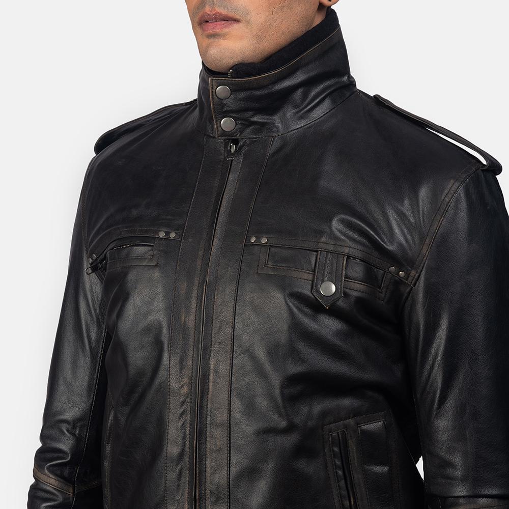 Mens Glen Street Black Leather Bomber Jacket 6