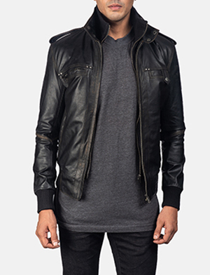 Mens Glen Street Black Leather Bomber Jacket