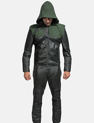 Mens Green Hooded Leather Costume 1