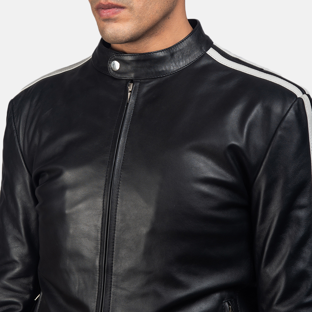 Mens Hank Black Leather Biker Jacket 6