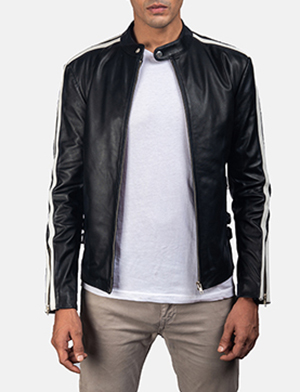 Mens Hank Black Leather Biker Jacket