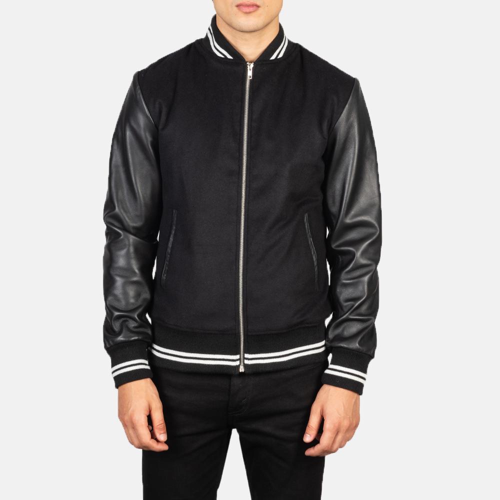 Harrison Black Hybrid Varsity Jacket Close Front
