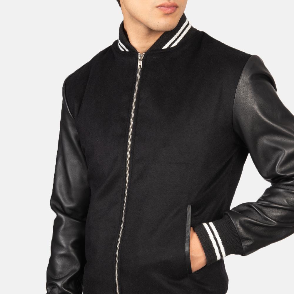 Harrison Black Hybrid Varsity Jacket Close-Up