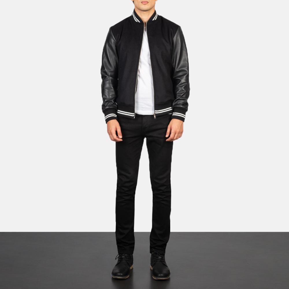 Harrison Black Hybrid Varsity Jacket Full Length