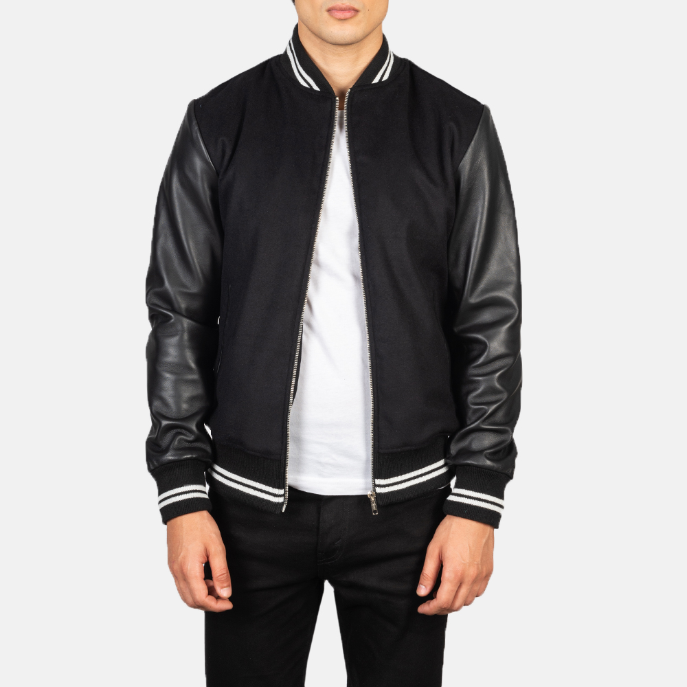 Harrison Black Hybrid Varsity Jacket Open Front