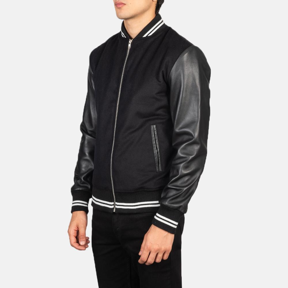 Harrison Black Hybrid Varsity Jacket Side Pose