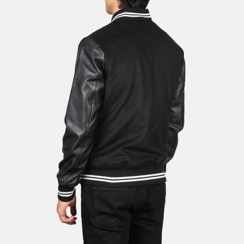 Harrison Black Hybrid Varsity Jacket Tilted Back