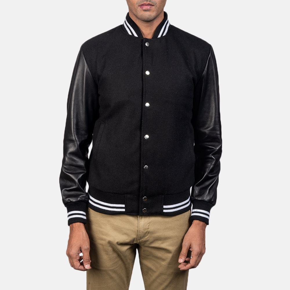 Men's Harrison Black Hybrid Varsity Jacket 2
