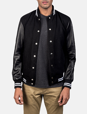 Men's Harrison Black Hybrid Varsity Jacket