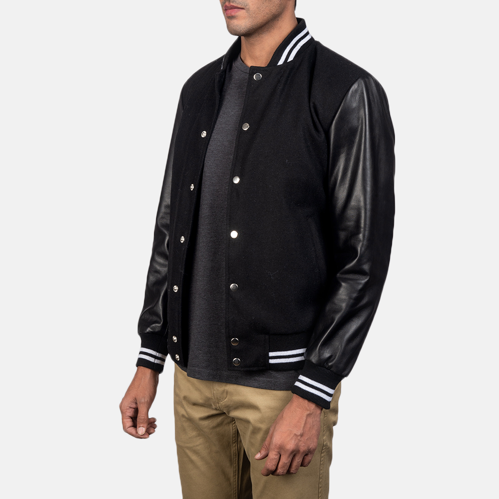 Men's Harrison Black Hybrid Varsity Jacket 3