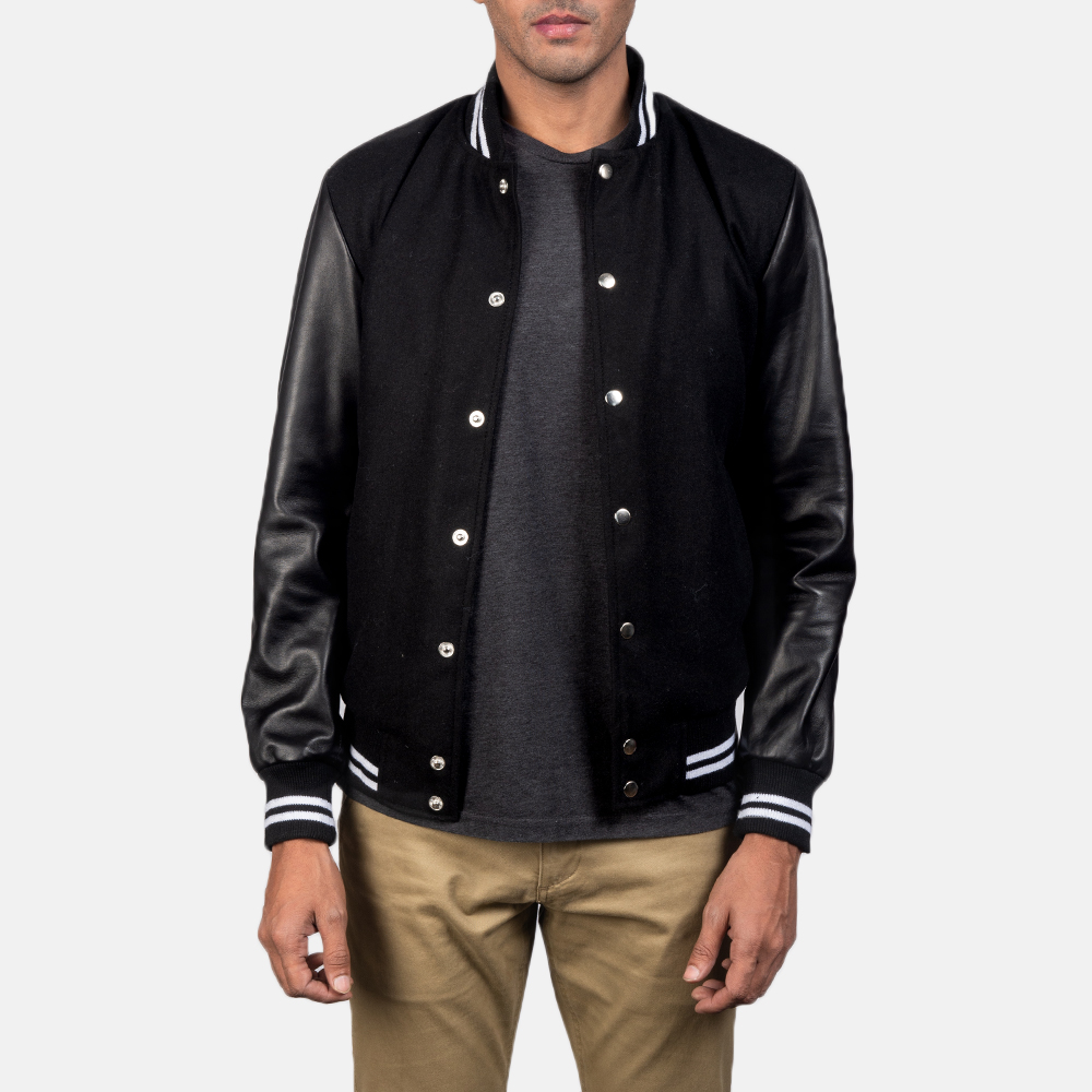 Men's Harrison Black Hybrid Varsity Jacket 4