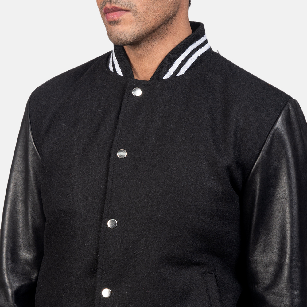 Men's Harrison Black Hybrid Varsity Jacket 6