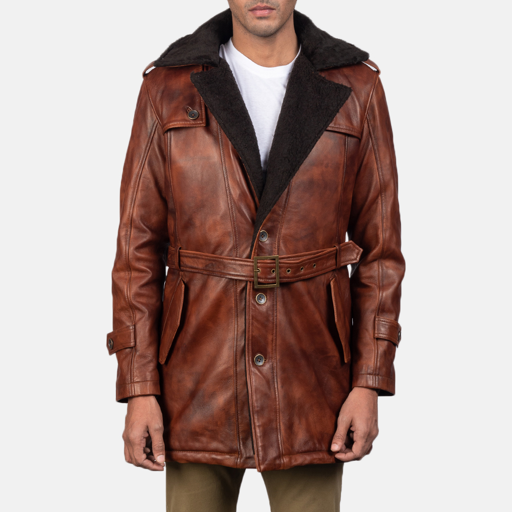 Mens Hunter Distressed Brown Fur Leather Coat 2