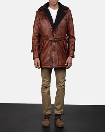 Mens Hunter Distressed Brown Fur Leather Coat 1