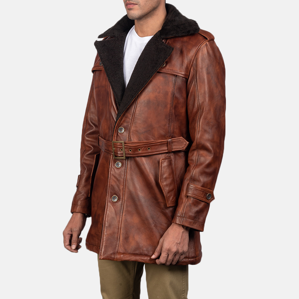 Mens Hunter Distressed Brown Fur Leather Coat 3