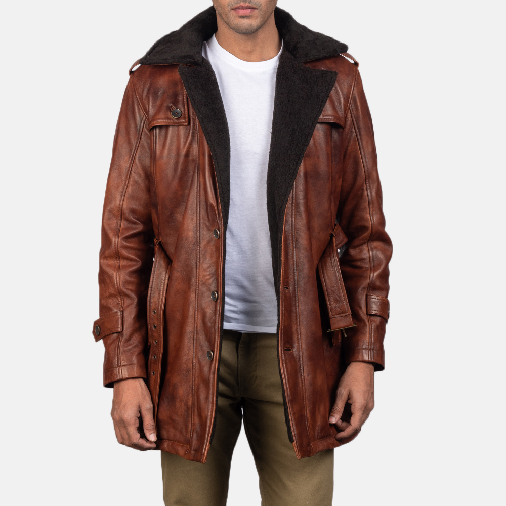 Mens Hunter Distressed Brown Fur Leather Coat 4