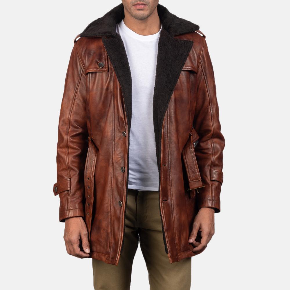 Mens Hunter Distressed Brown Fur Leather Coat 4