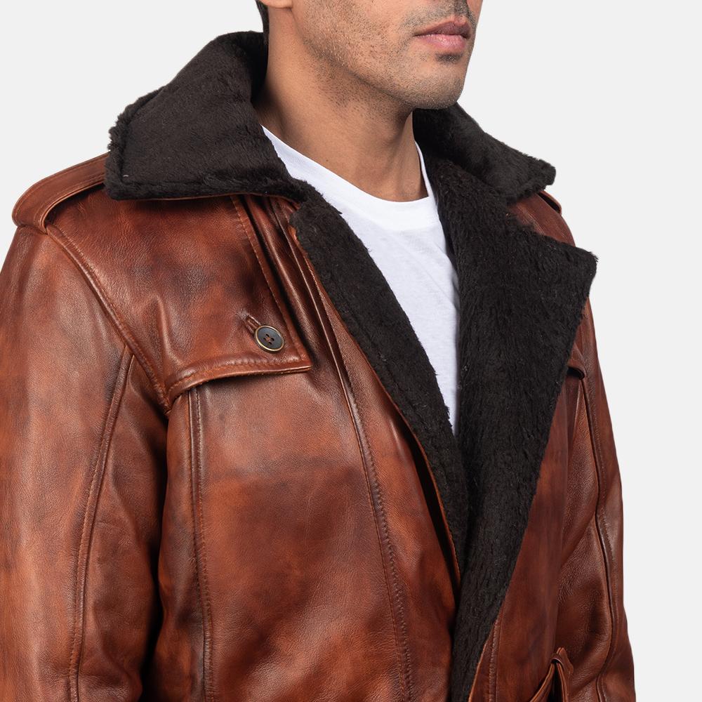 Mens Hunter Distressed Brown Fur Leather Coat 6
