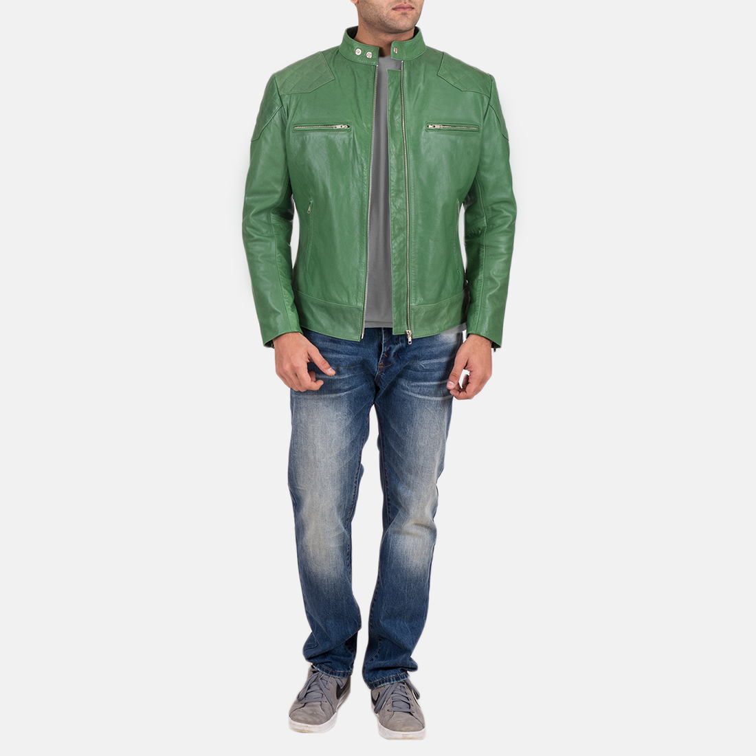 Mens Gatsby Green Leather Biker Jacket 2