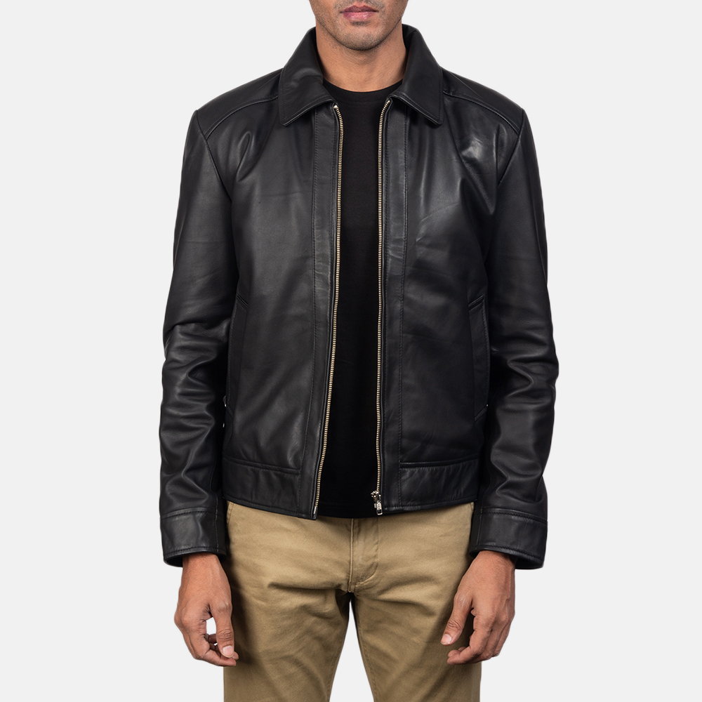 Mens Inferno Black Leather Jacket 2