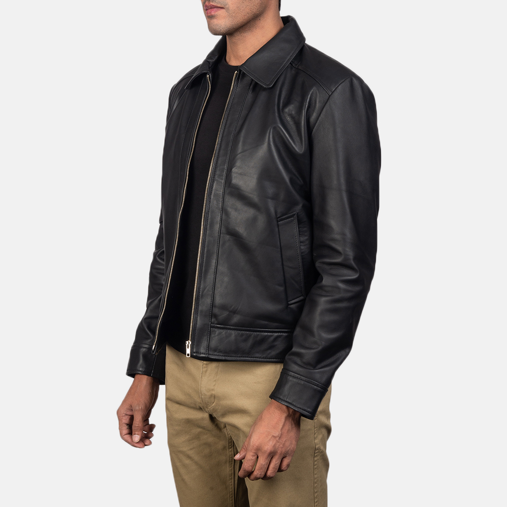 Mens Inferno Black Leather Jacket 3