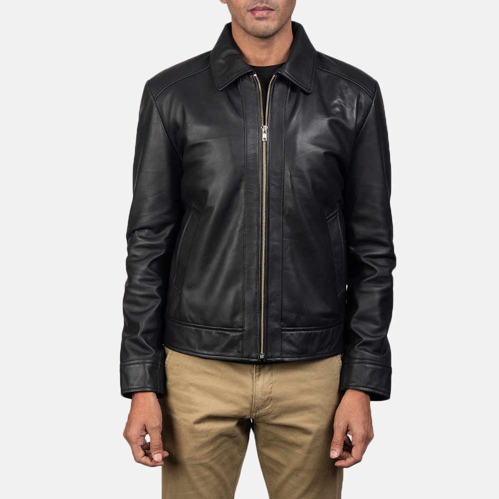 Mens Inferno Black Leather Jacket 4