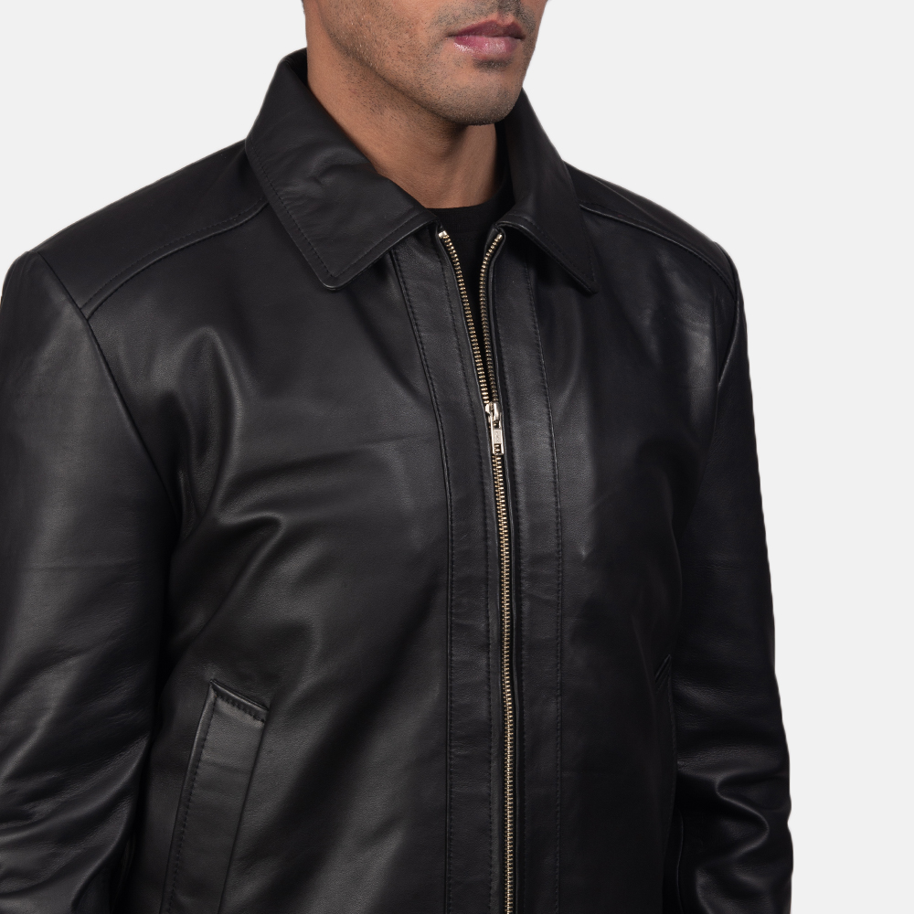 Mens Inferno Black Leather Jacket 6