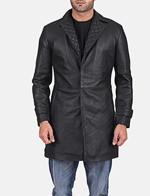 Mens Infinity Black Leather Coat