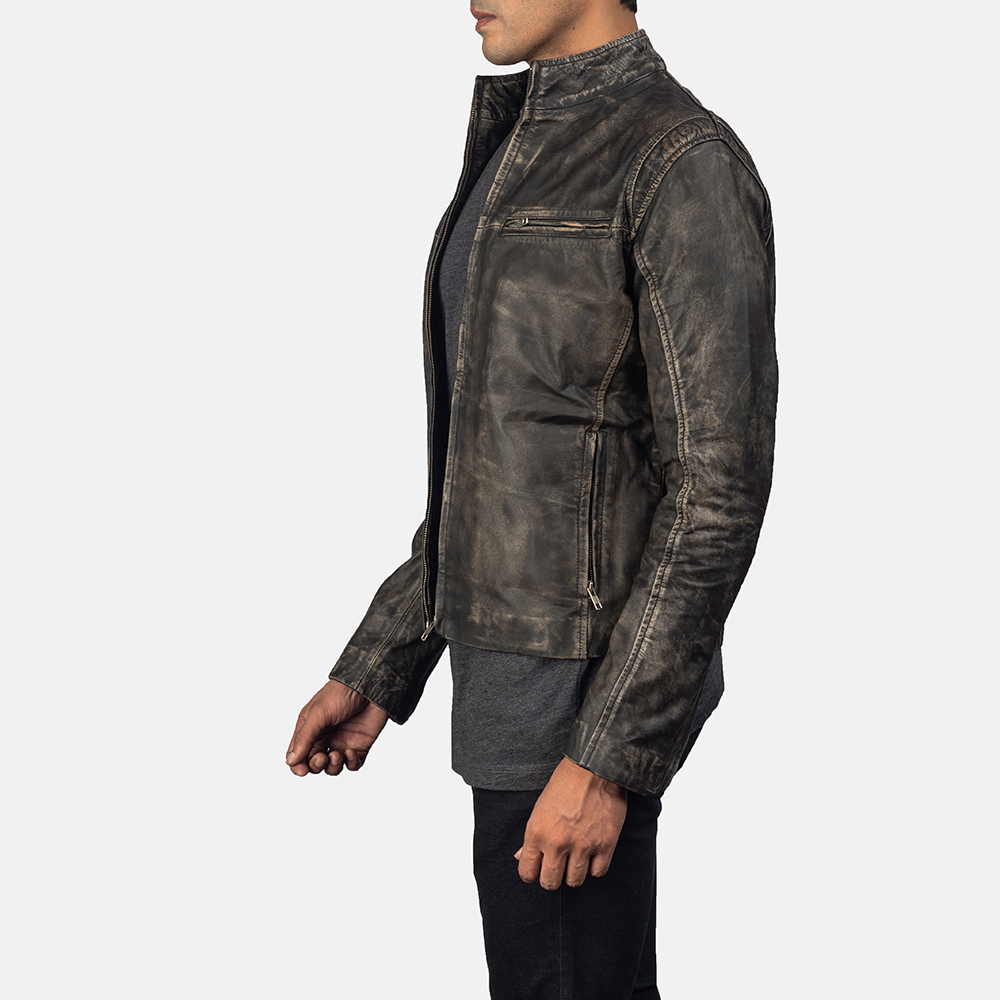 Men's Ionic Distressed Brown Leather Jacket 3