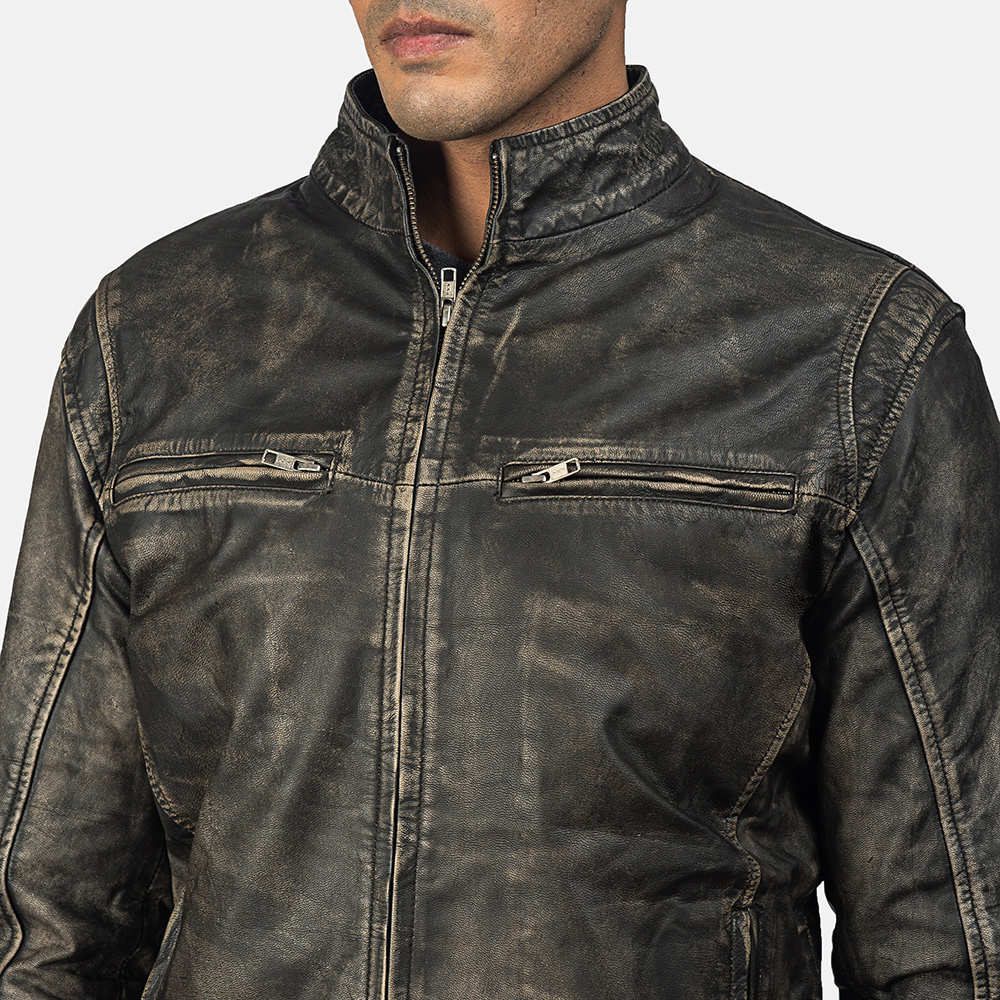 Men's Ionic Distressed Brown Leather Jacket 6