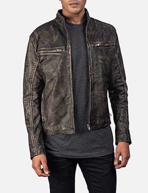 Men's Ionic Distressed Brown Leather Jacket