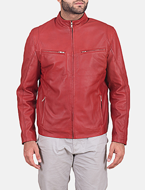 Mens Ionic Red Leather Jacket