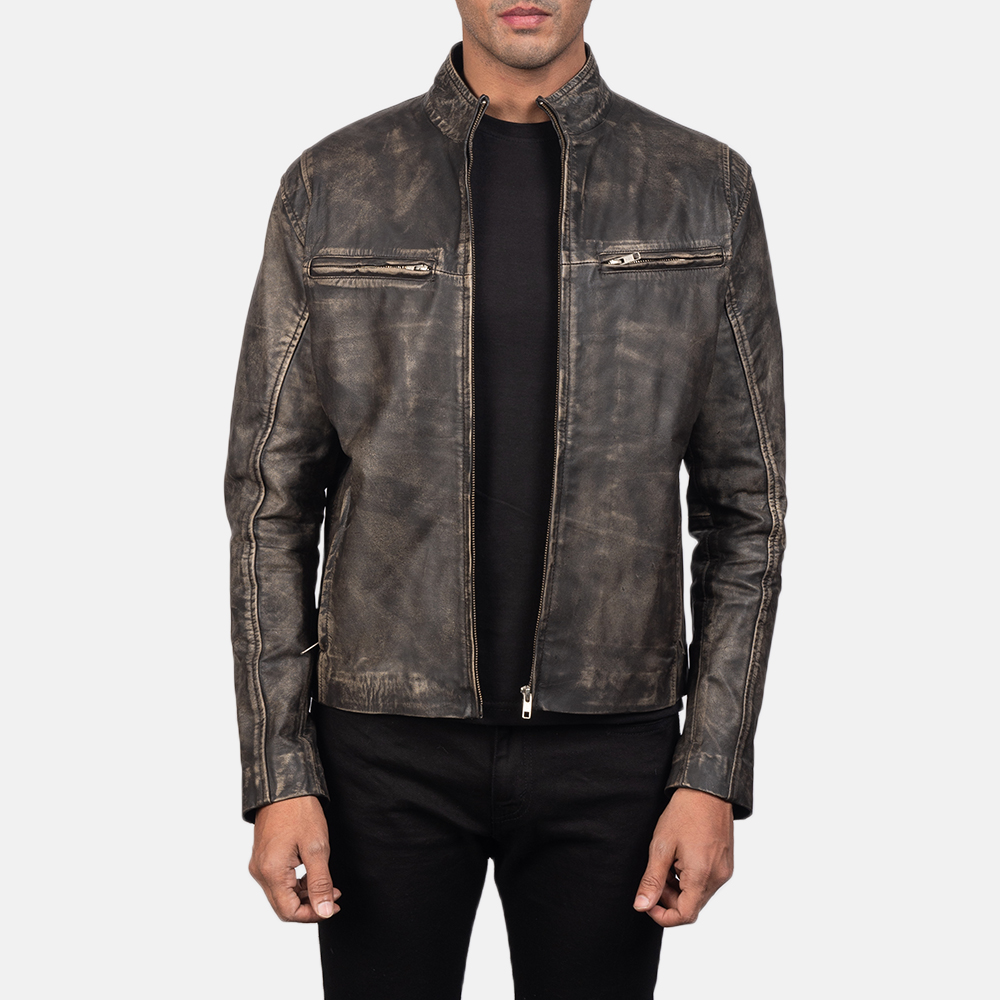 Men's Ionic Distressed Brown Leather Biker Jacket 2
