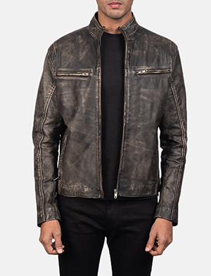 Men's Ionic Distressed Brown Leather Biker Jacket
