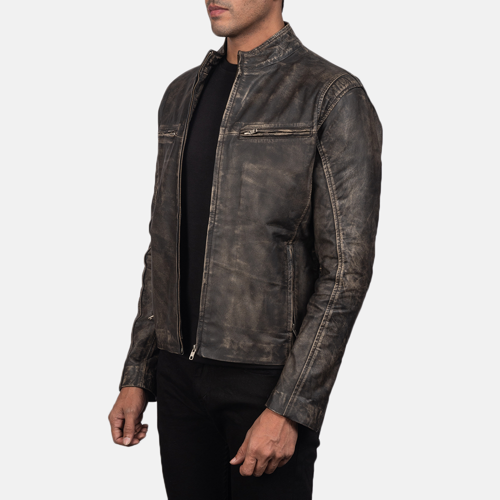 Men's Ionic Distressed Brown Leather Biker Jacket 3