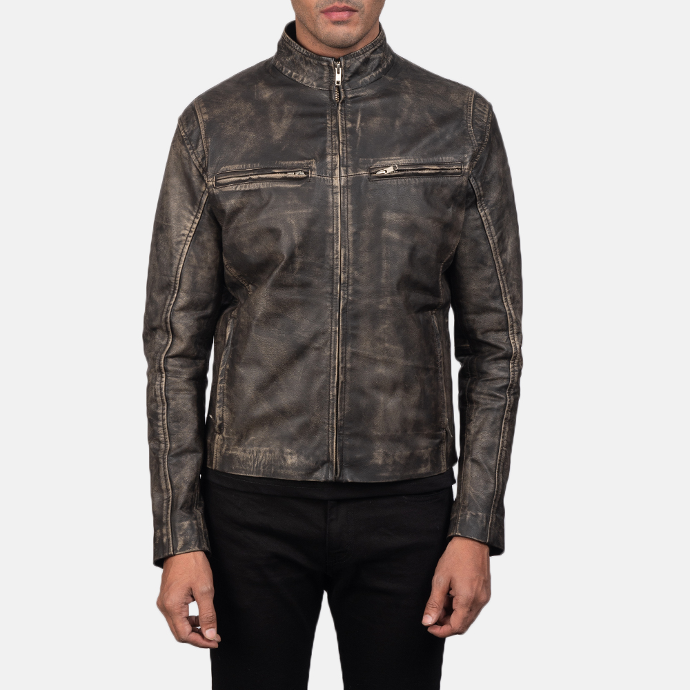 Men's Ionic Distressed Brown Leather Biker Jacket 4
