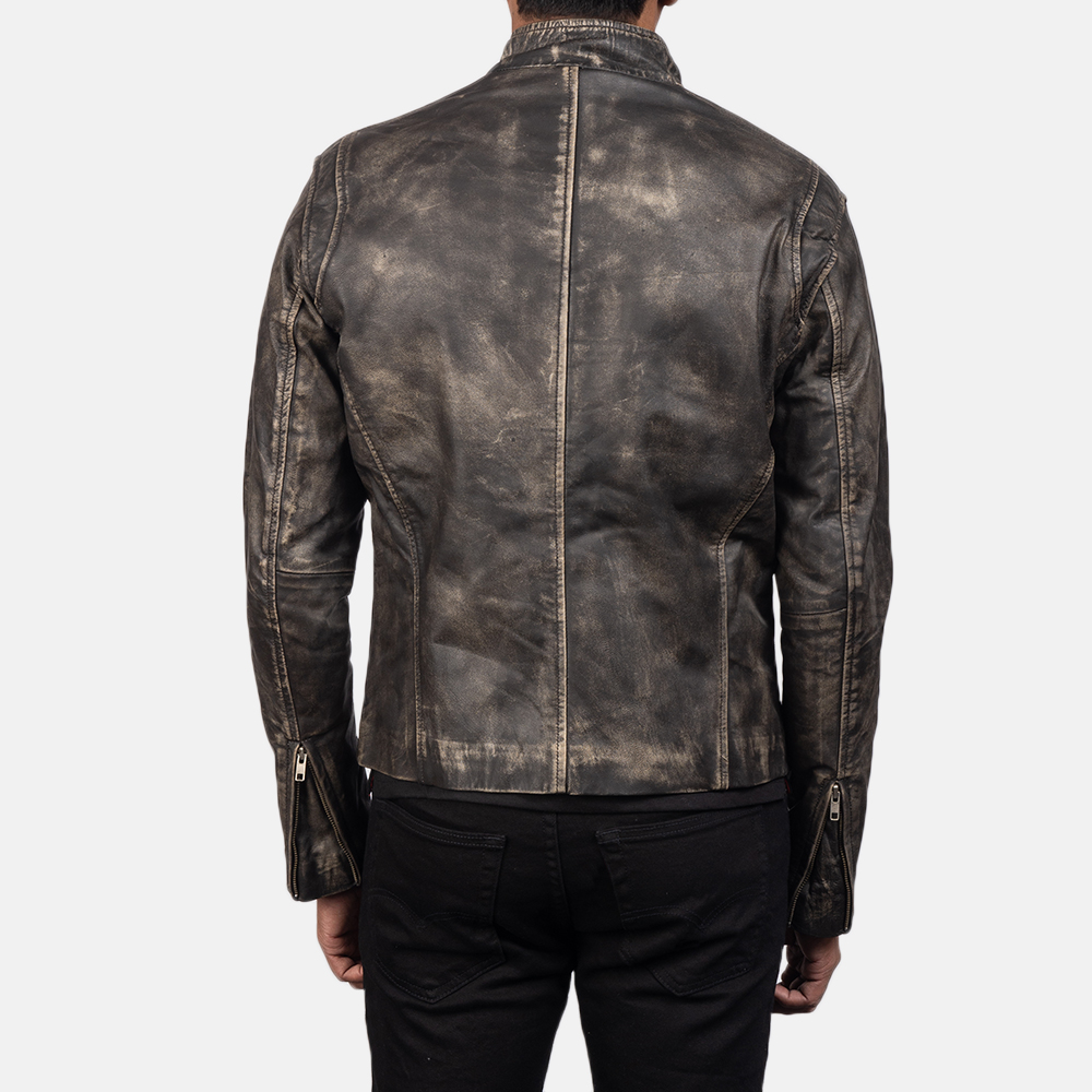Men's Ionic Distressed Brown Leather Biker Jacket 5