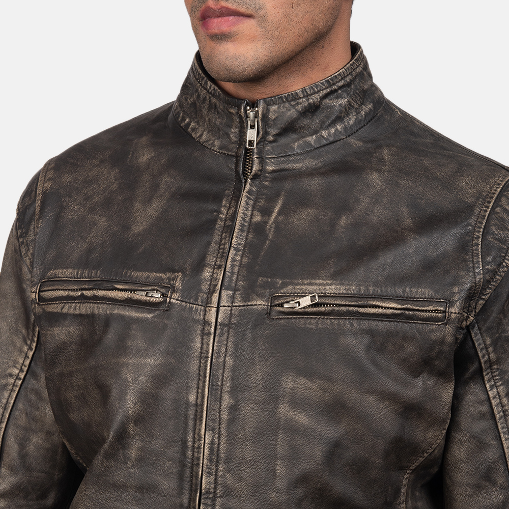 Men's Ionic Distressed Brown Leather Biker Jacket 6
