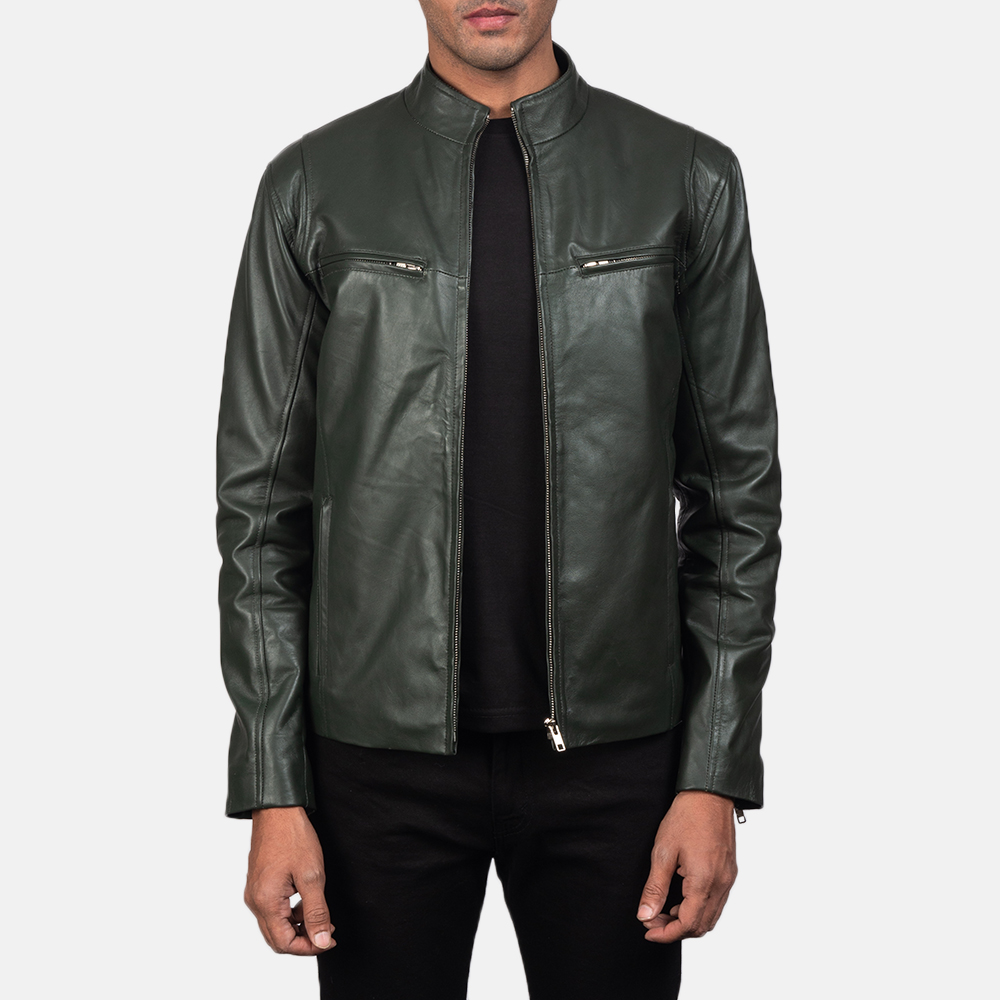 Mens Ionic Green Leather Biker Jacket 2