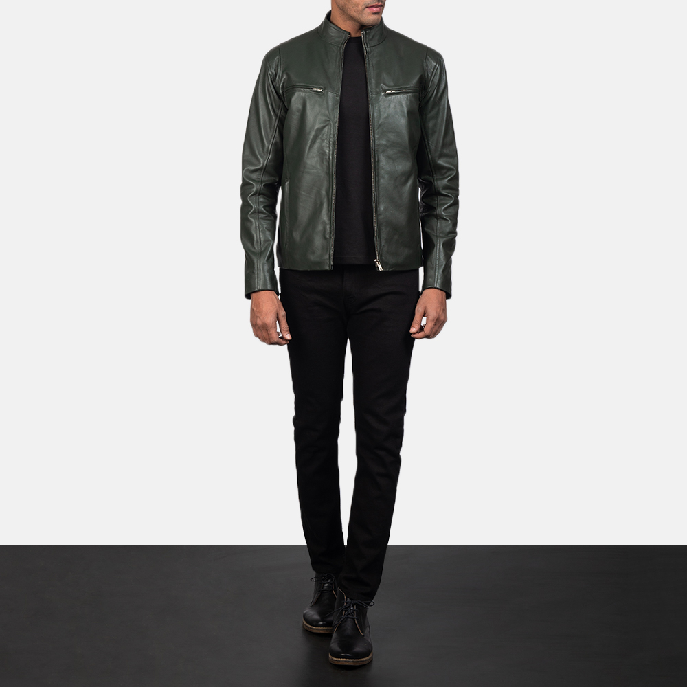 Mens Ionic Green Leather Biker Jacket 1