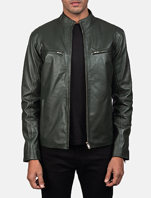 Mens Ionic Green Leather Biker Jacket