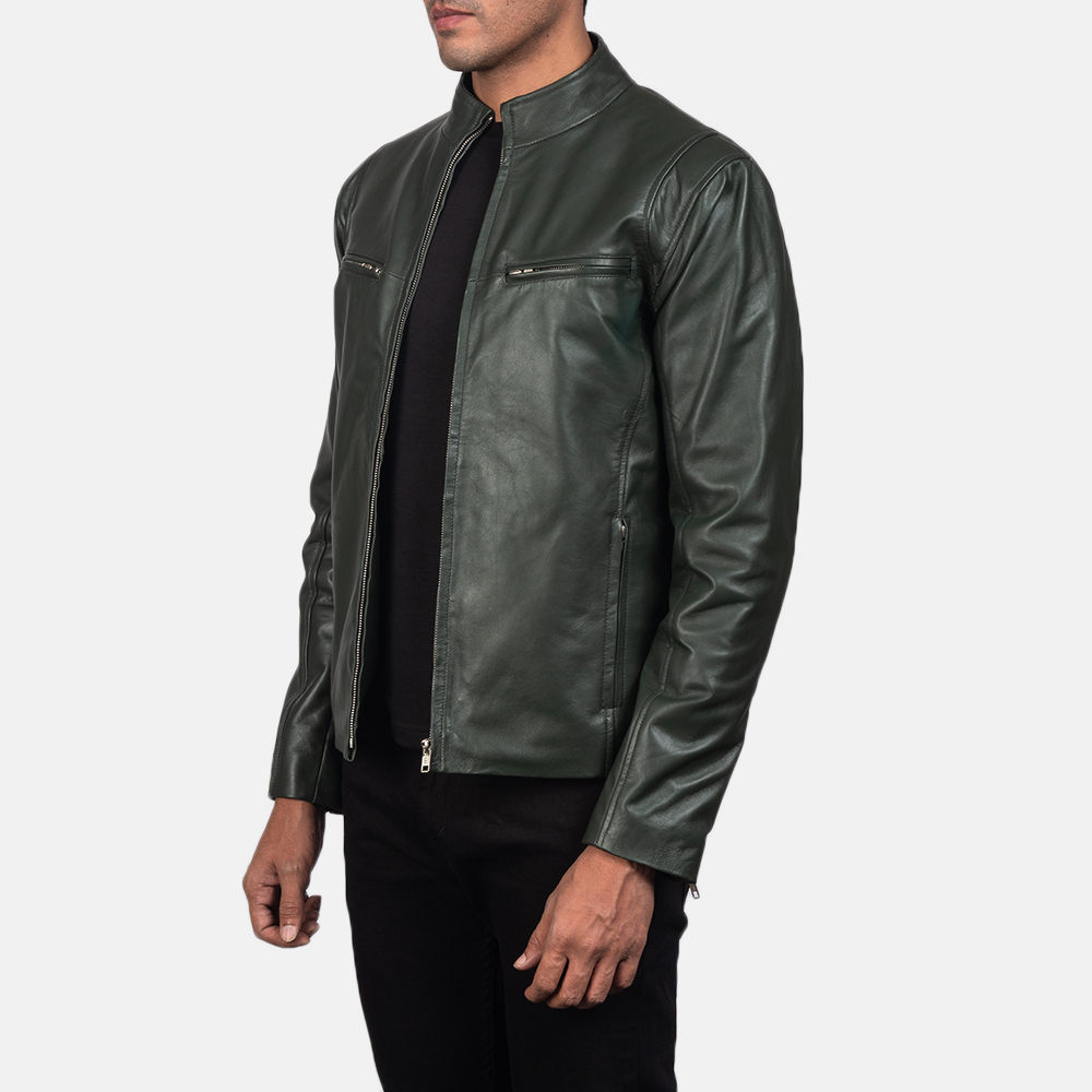 Mens Ionic Green Leather Biker Jacket 3