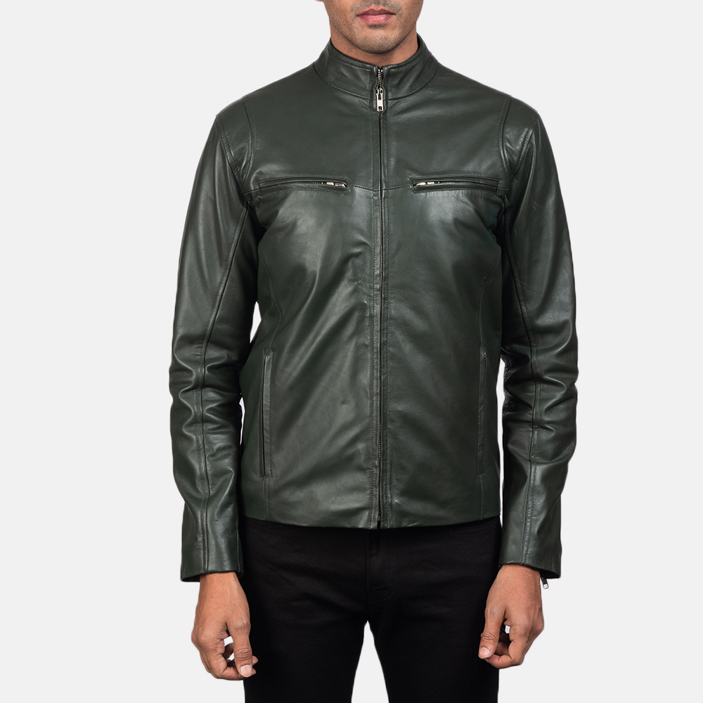 Mens Ionic Green Leather Biker Jacket 4