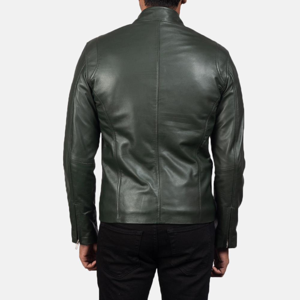 Mens Ionic Green Leather Biker Jacket 5