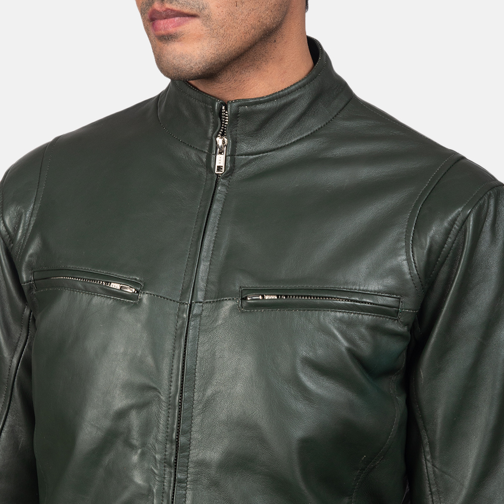 Mens Ionic Green Leather Biker Jacket 6