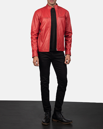 Mens Ionic Red Leather Biker Jacket 1