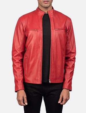 Mens Ionic Red Leather Biker Jacket