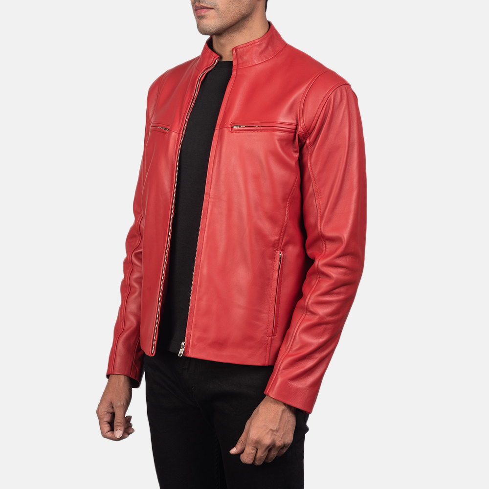 Mens Ionic Red Leather Biker Jacket 2