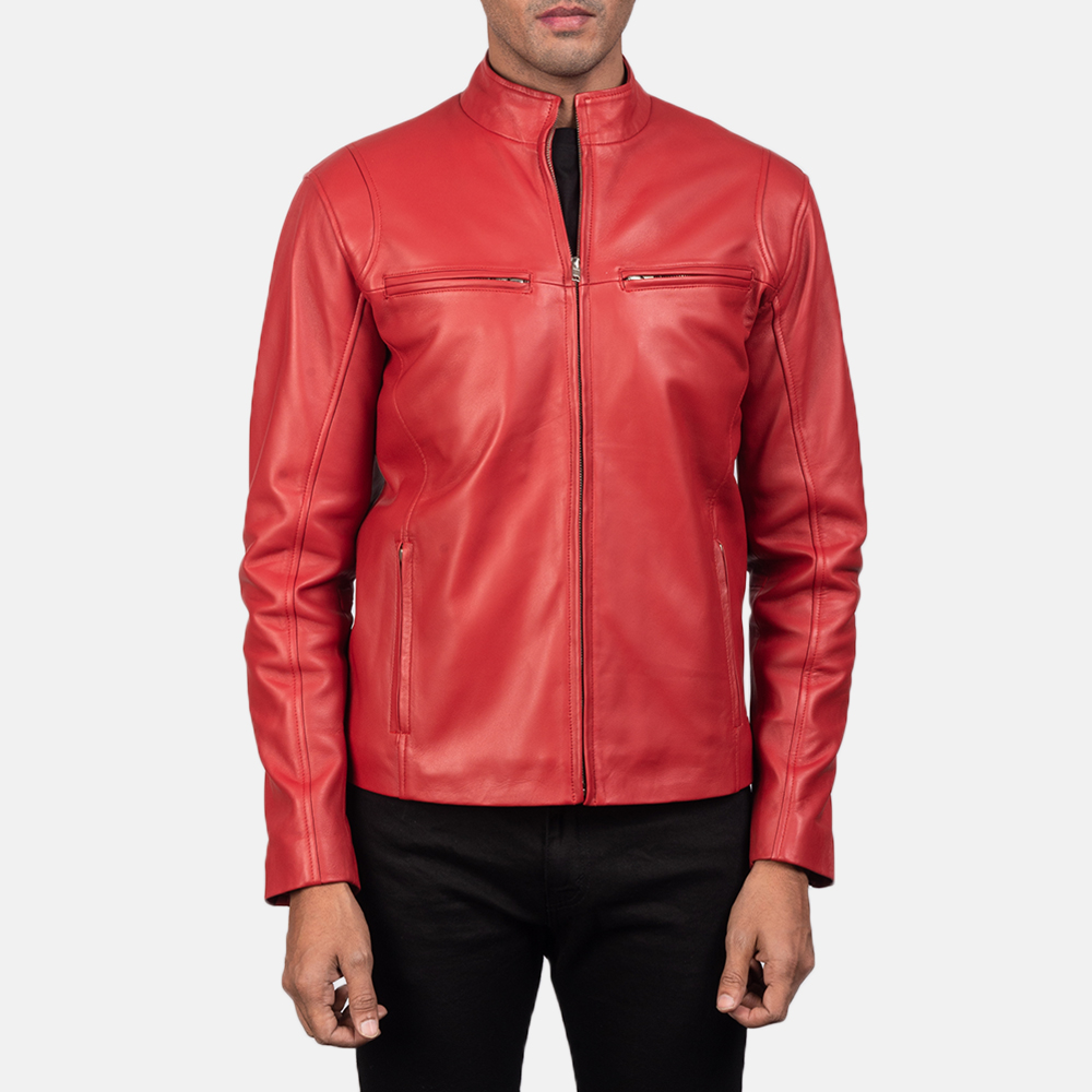 Mens Ionic Red Leather Biker Jacket 5